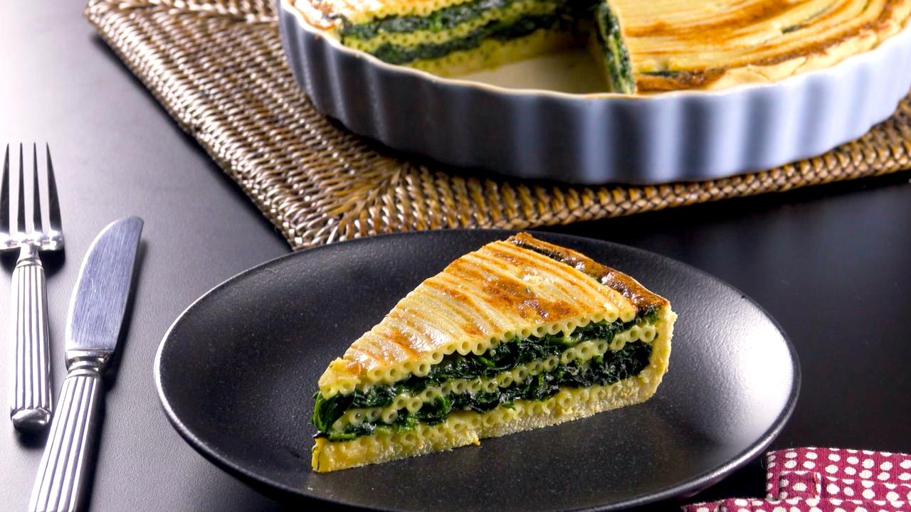 Köstliche Makkaroni Spinat Torte