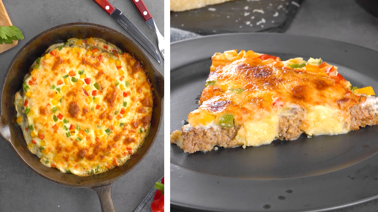 Besonders kreative Pizza in Spiralform mit Hackfleisch, Kartoffelstampf und Béchamelsauce