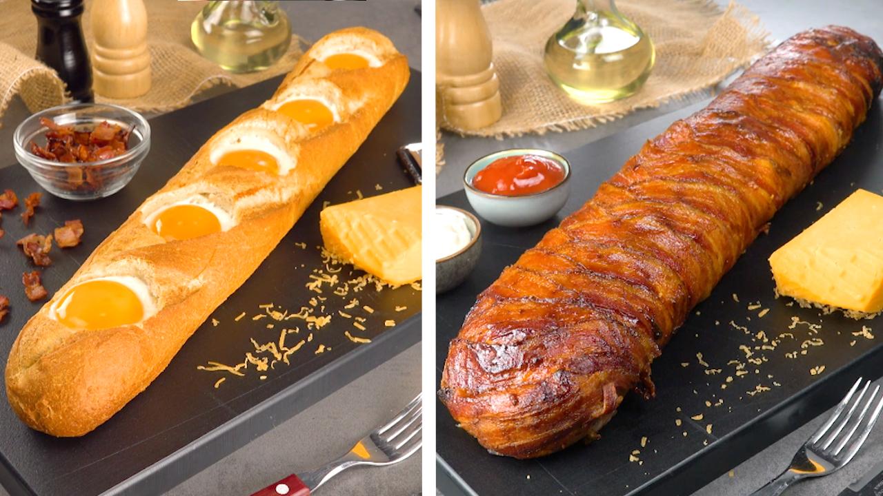 Auf der linken Seite sieht man ein gefülltes Baguette mit Spiegeleiern und auf der rechten Seite ein in Bacon eingewickeltes Baguette