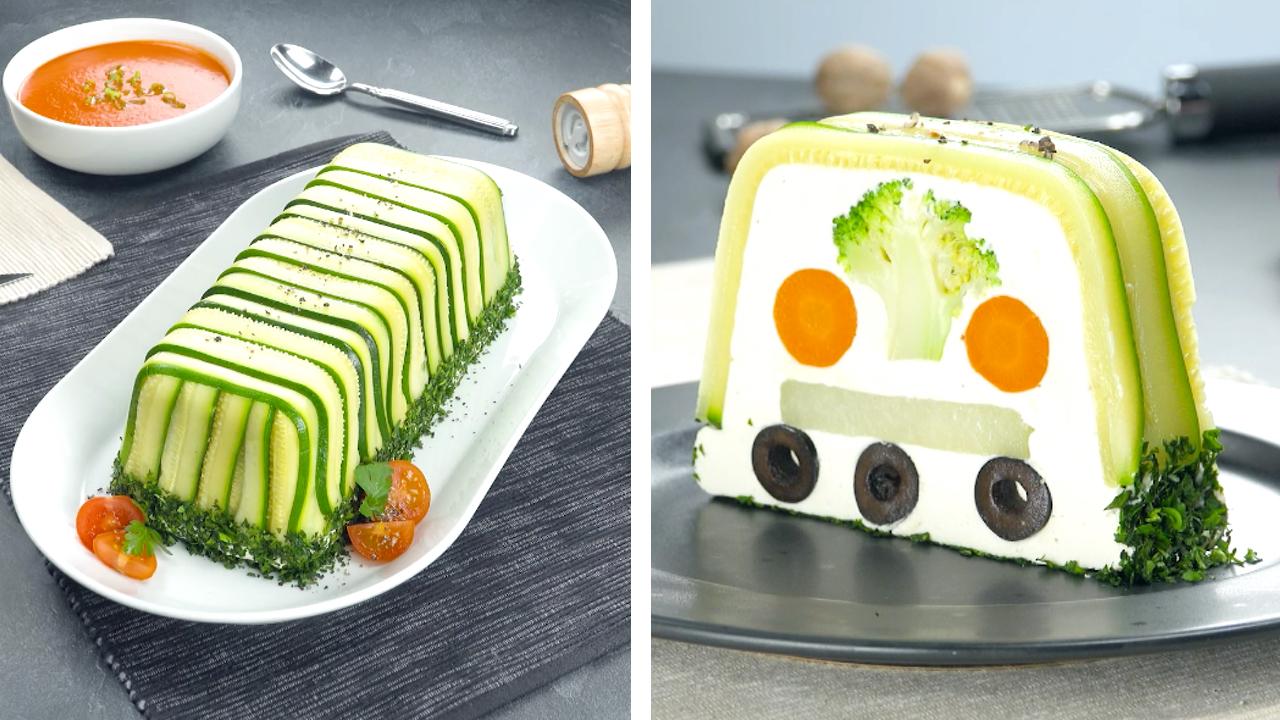 Gemüseterrine mit Zucchini, Brokkoli und Möhren in Pilzcreme