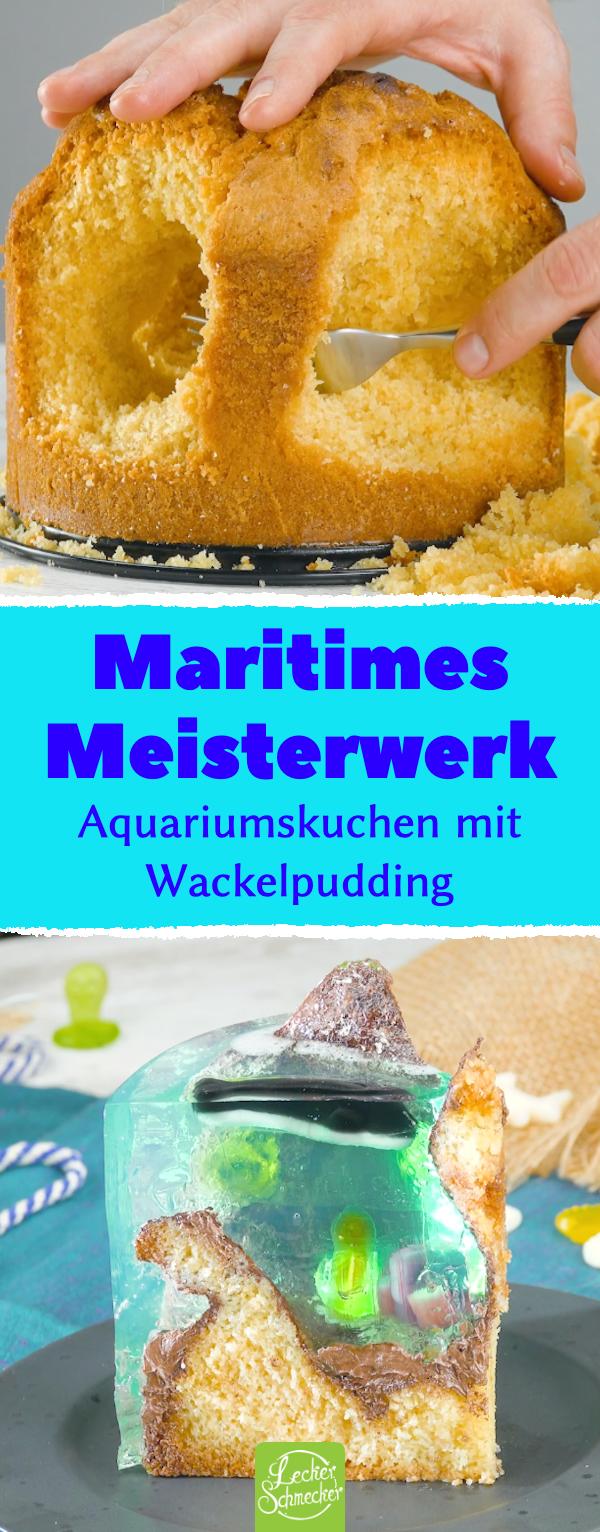 Kuchen mit Wackelpudding, der aussieht wie ein Aquarium