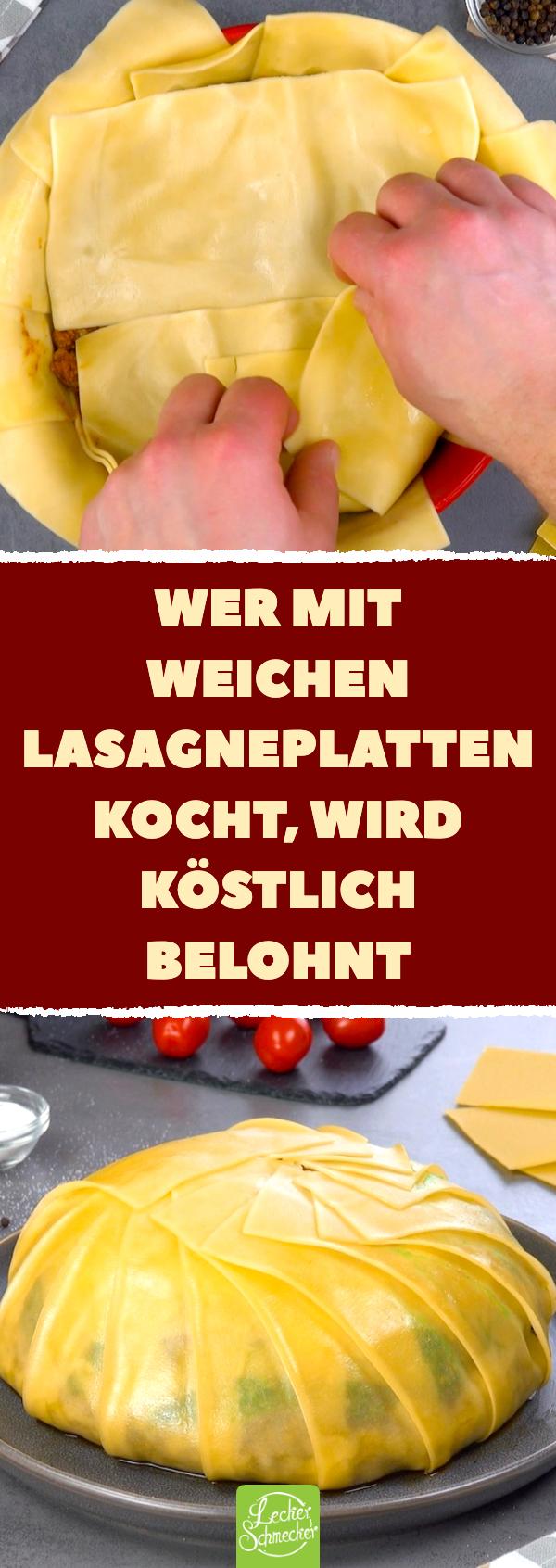 Kuchen aus Lasagneplatten mit Basilikum Pesto und Bolognese