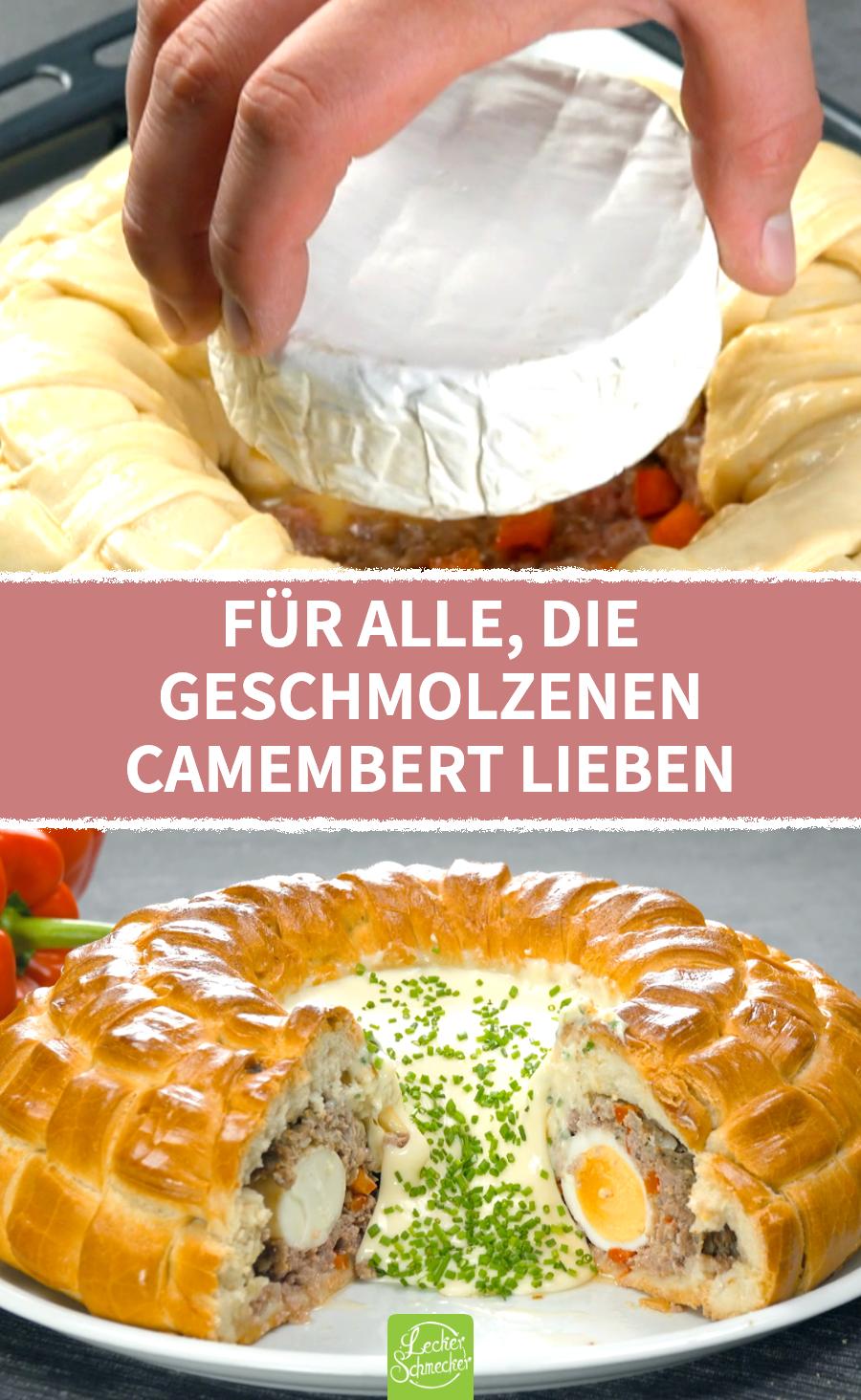 In Teig eingepackter Hackfleisch-Ring mit Eiern und Camembert