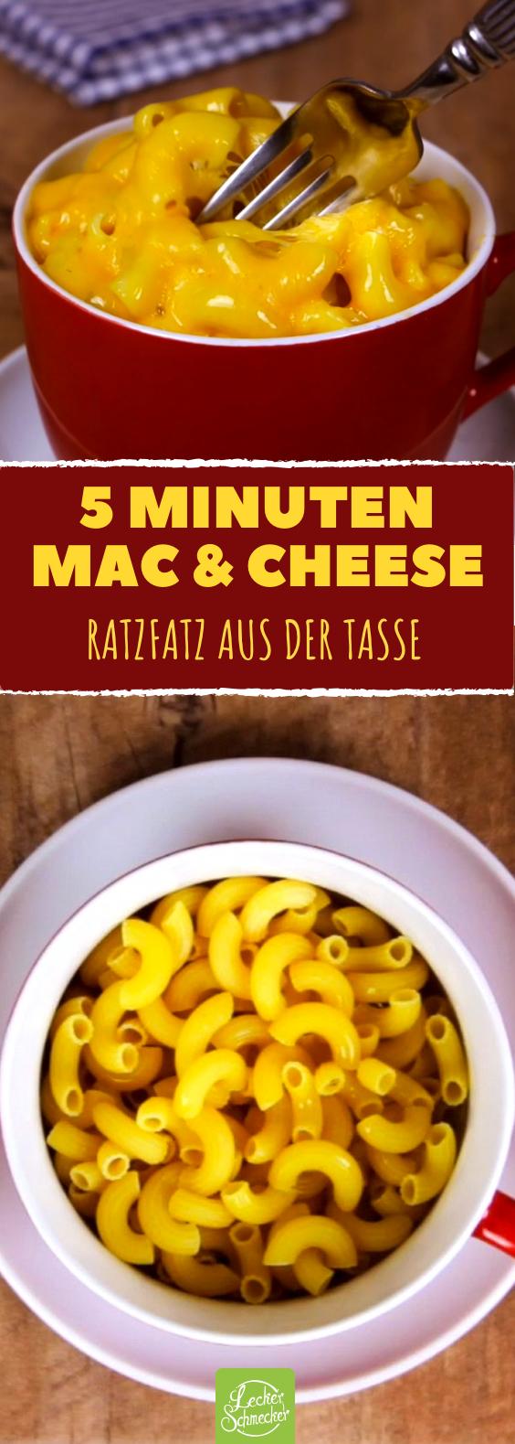 Mac and Cheese Pasta als super schnelles Tassen Rezept aus der Mikrowelle