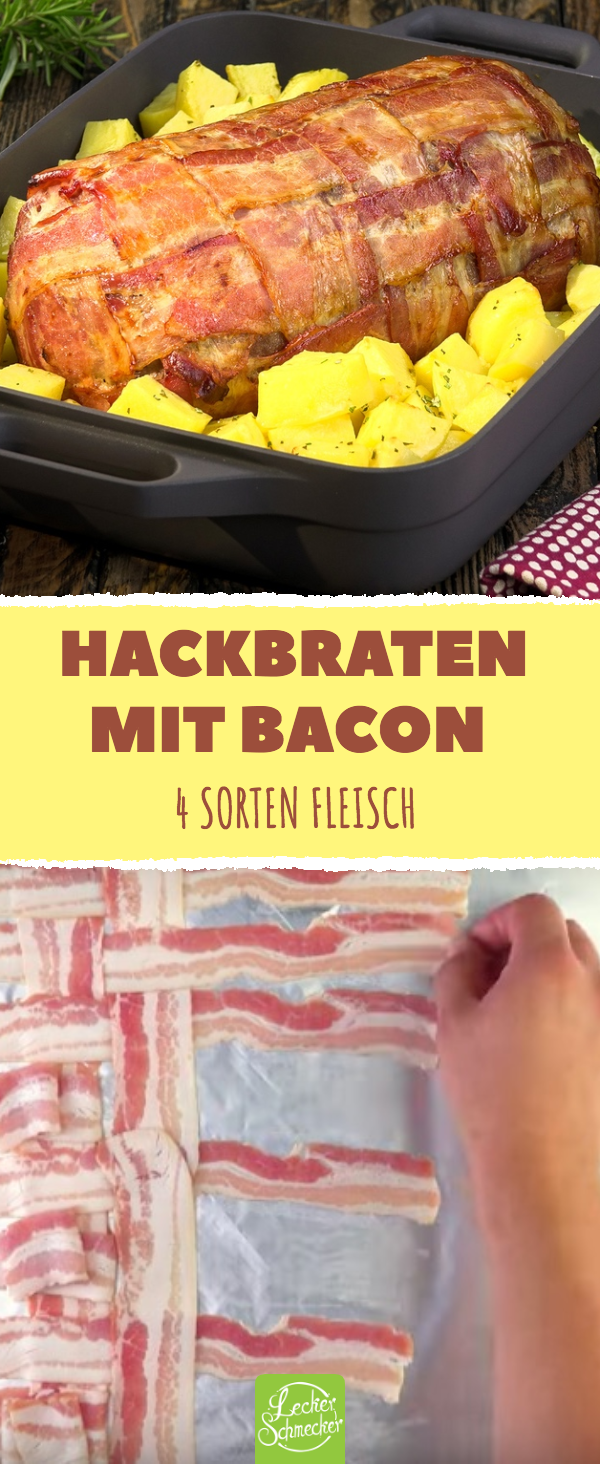 Hackbraten mit Bacon aus dem Backofen