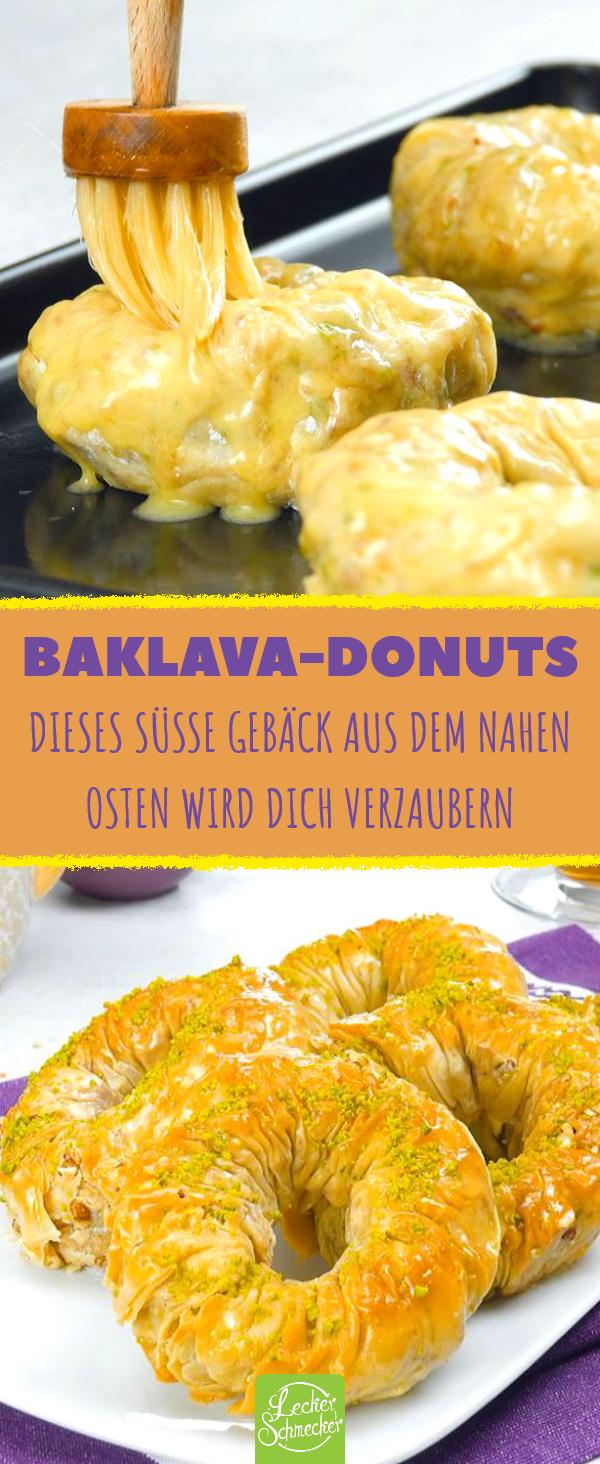 Baklava als Donuts: orientalisches Gebäck mit Pistazien