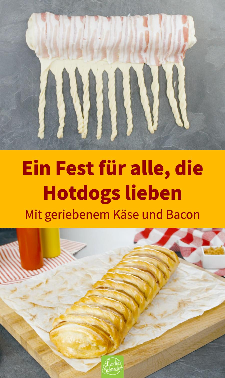 XXL Hot Dog Brot, umwickelt mit Bacon