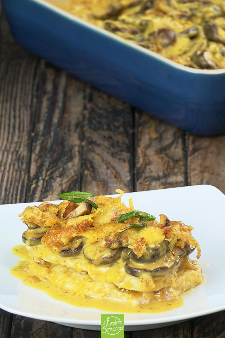 Schnitzel-Gratin mit Curry und Champignons hat das besondere Etwas.