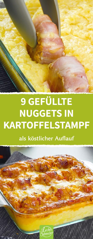 Chicken Nuggets Auflauf mit Kartoffelstampf, Bacon und Käse