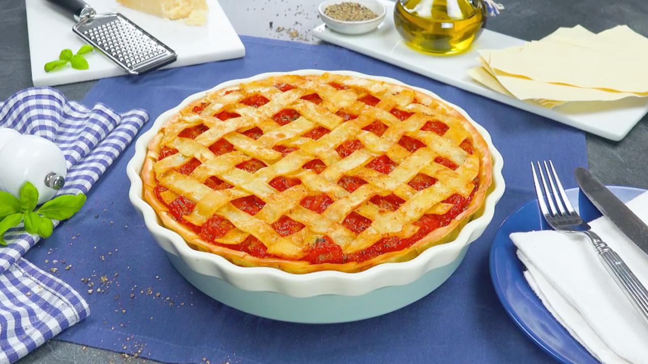 Lasagne Kuchen mit Ricotta, Mozzarella und Parmesan