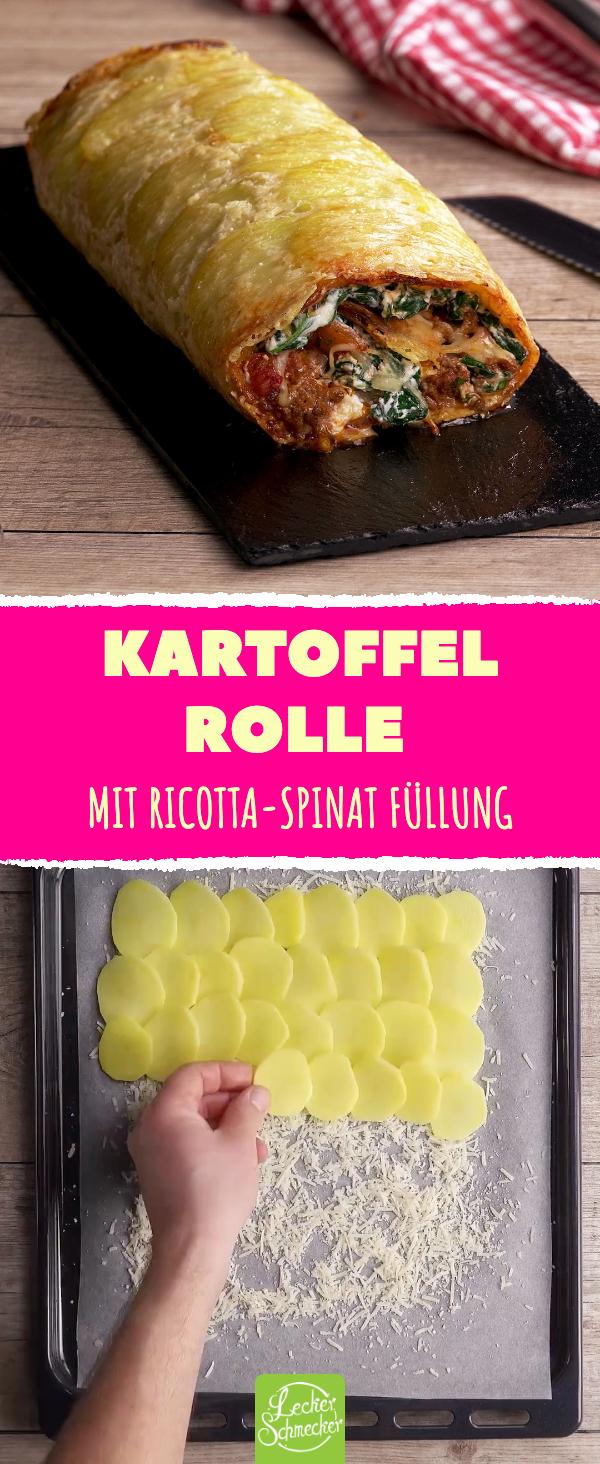 Kartoffelrolle mit Ricotta-Spinat-Füllung und Hackfleisch