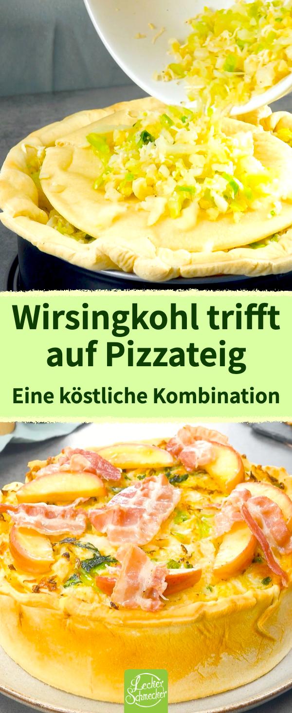 Pizzateig mit Wirsingkohl und in Speck gehüllten Äpfeln