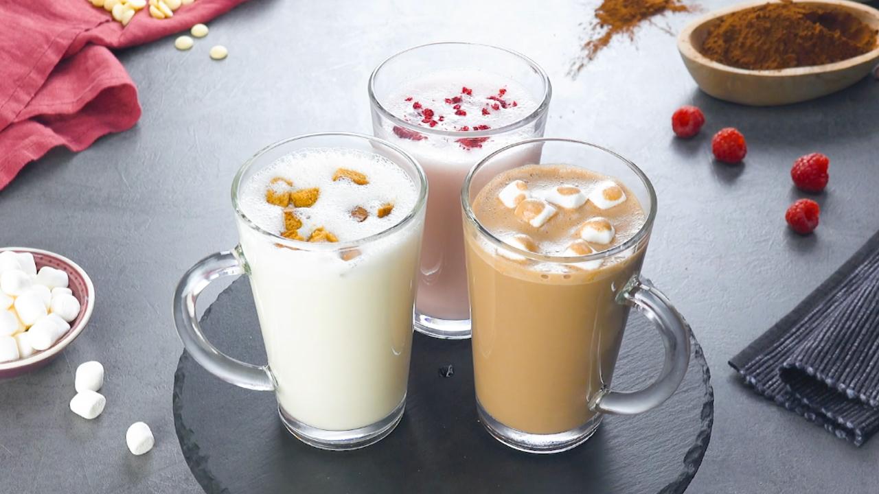Heiße Schokolade in 3 Geschmacksrichtungen mit Schokokugeln