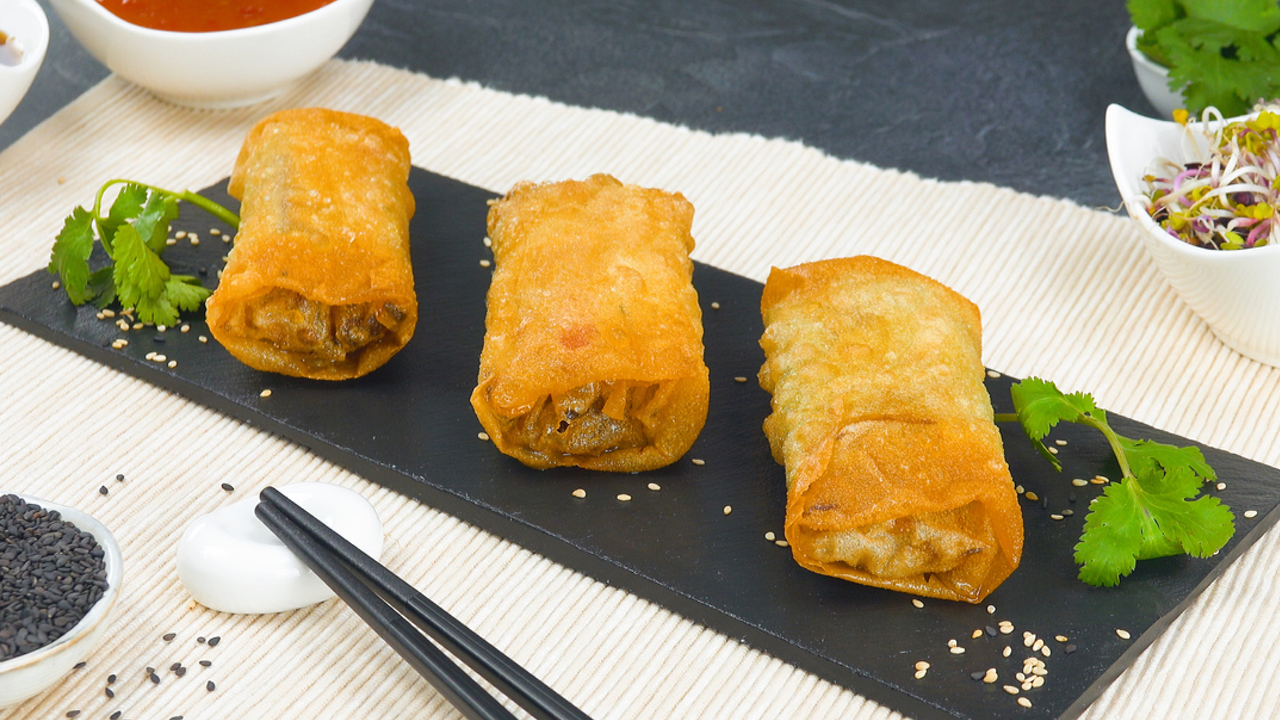 Frühlingsrollen mit Asia Gemüse, Tofu oder Rindfleisch