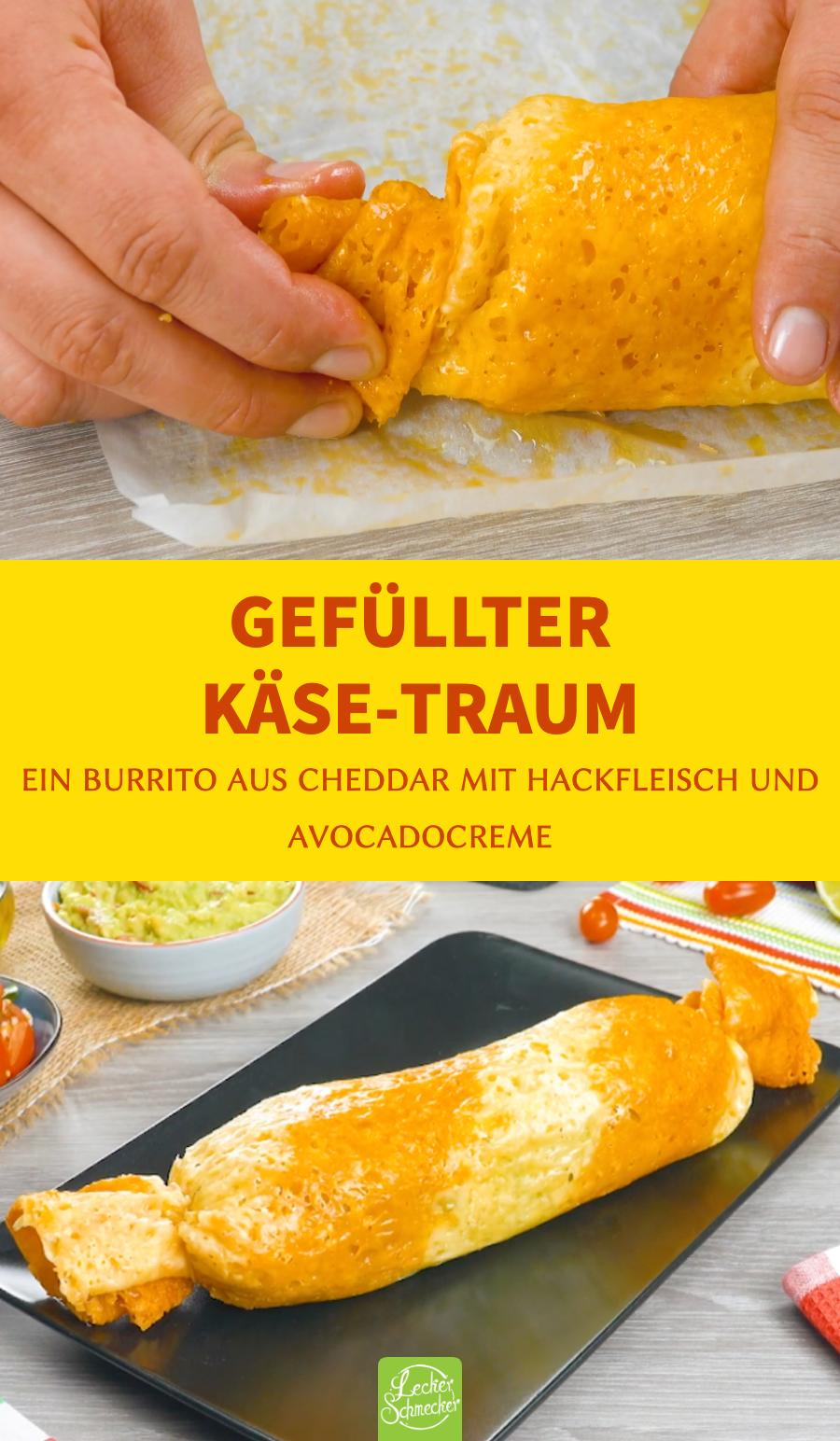 Käse Burrito mit Avocadocreme, Hackfleisch und Keto Salsa