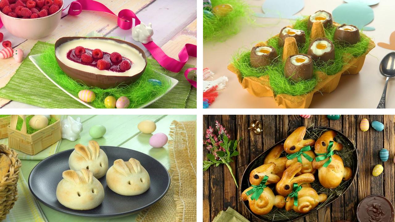 4 süße und herzhafte Rezepte-Ideen für das Osterfest in einem Bild