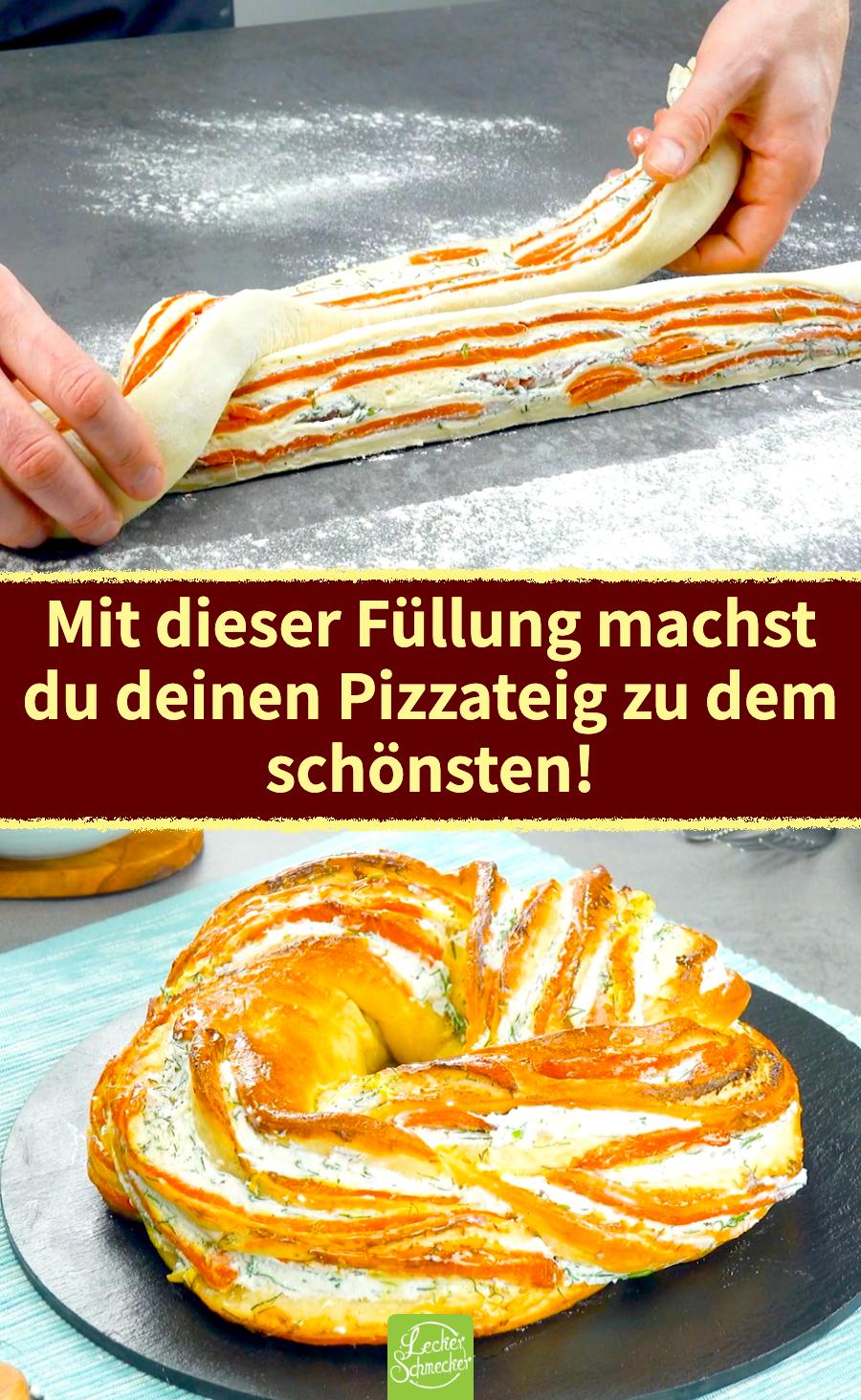 In knusprigen Pizzateig gehüllter Räucherlachs