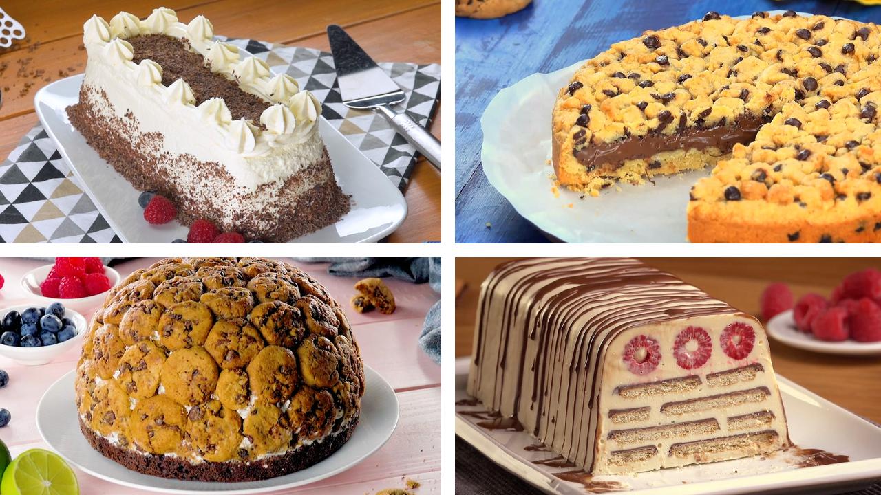 4 verschiedene Desserts mit Keksen