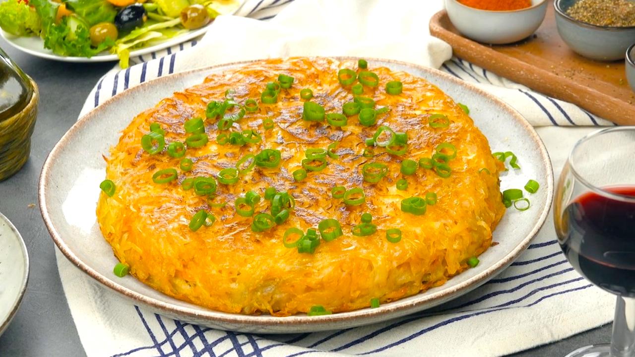Fertiger Kartoffelrösti mit Hähnchenfüllung und Frühlingszwiebeln