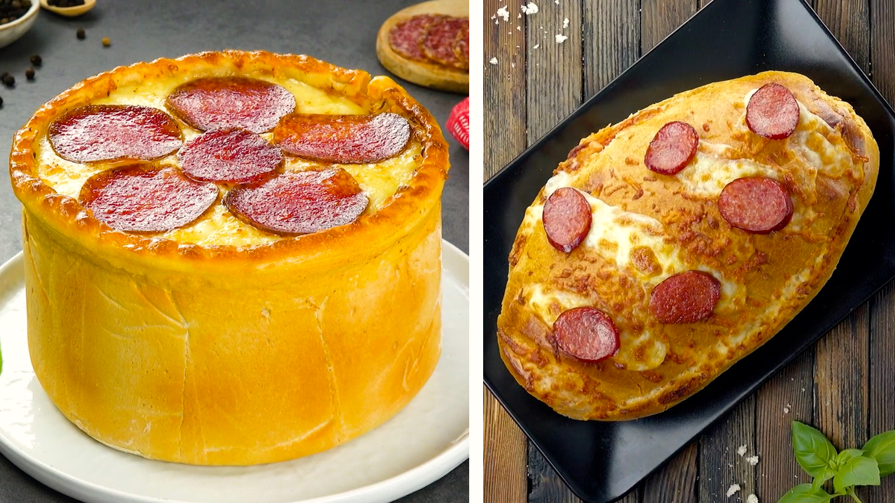 Links, Pizza Kuchen | Rechts, Pizza im Brot
