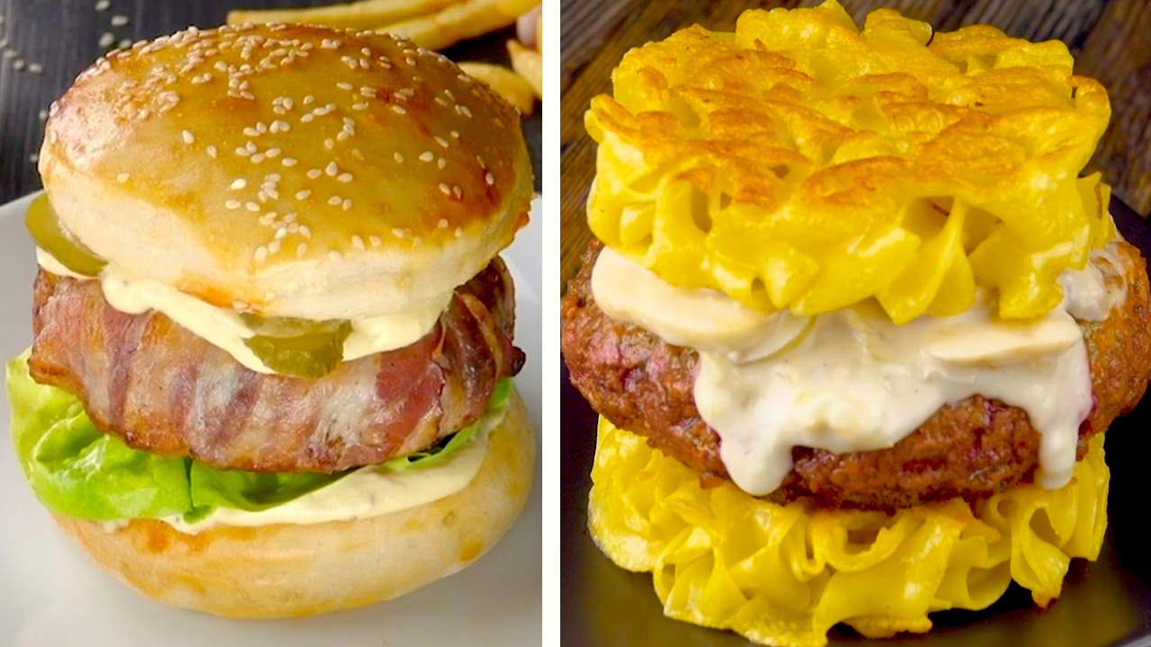 Links: Käse Bacon Burger | Rechts: Stroganoff Burger
