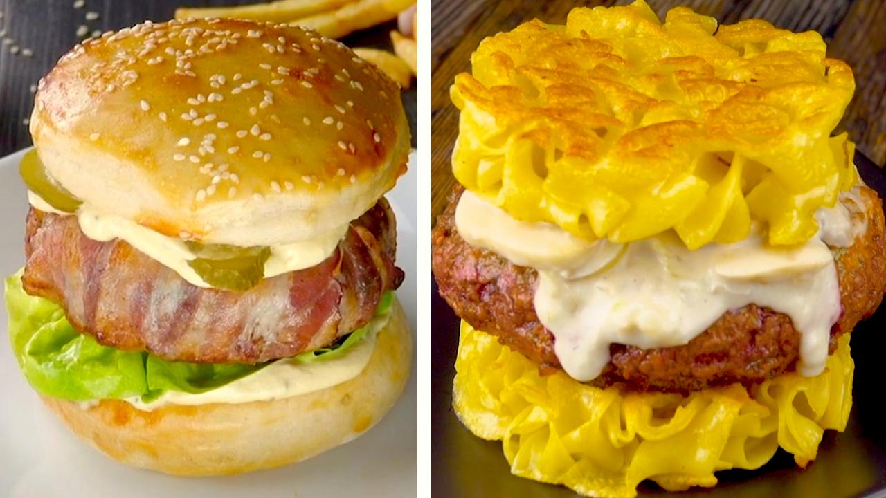 Links: Käse Bacon Burger | Rechts: Stroganoff Burger