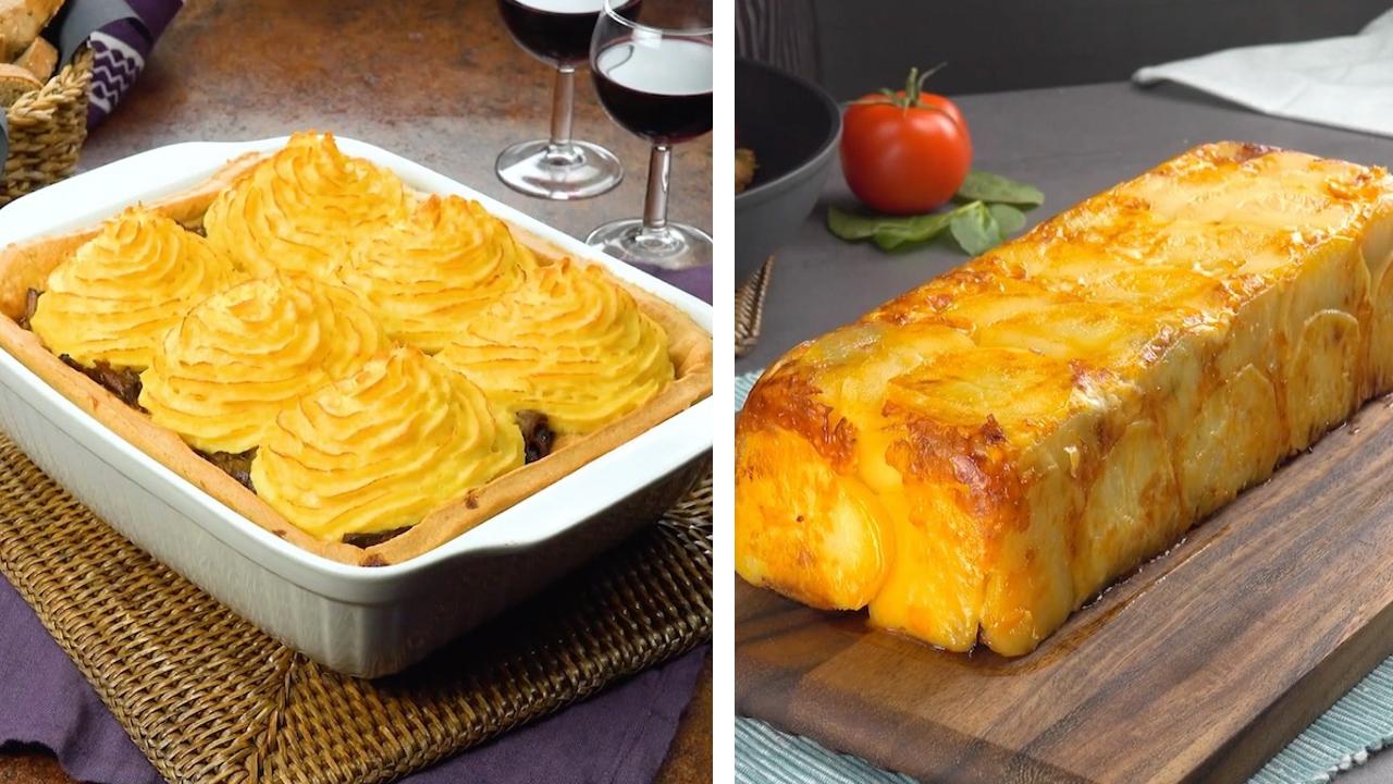 Links: Beef-Ribs Kartoffelauflauf | Rechts: Kartoffelauflauf aus der Kuchenform